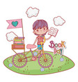 boy with bicycle and education books with clouds vector image vector image