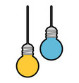 bulbs light hanging icon vector image
