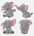 cartoon funny elephants collection set vector image vector image