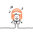cartoon man listening music with headphones vector image