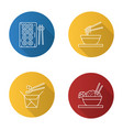 chinese food flat linear long shadow icons set vector image vector image