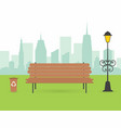 city park scene wooden bench with urn and lantern vector image