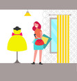 clothing store and woman vector image