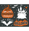 Collection of silhouettes of Halloween symbols vector image vector image
