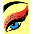 Colourful eye with fluffy eyelid close-up vector image vector image