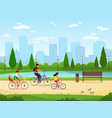 family cycling active family vacation riding vector image vector image