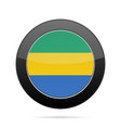 flag of gabon shiny black round button vector image vector image