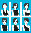 flat design style haircut set vector image vector image