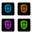 glowing neon shield icon isolated on white vector image vector image