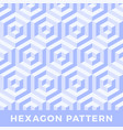 hexagon seamless abstract cube pattern blue color vector image vector image