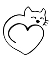 High quality of cat in shape of heart vector image vector image
