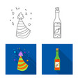 isolated object of party and birthday symbol set vector image vector image
