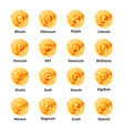 largest set of golden coins with microchip pattern vector image vector image