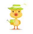 little cartoon duckling wearing green hat standing vector image