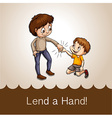 Man holding a boys hand vector image vector image