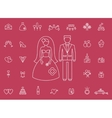 Marriage bridal icons in modern line style vector image vector image