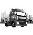 monochromatic cartoon garbage truck isolated vector image