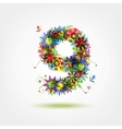 Nine floral number for your design vector image vector image