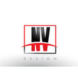 nv n v logo letters with red and black colors and vector image vector image