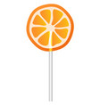 orange lollipop icon realistic style vector image vector image