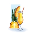 pineapple in goblet of juice cocktail smoothie vector image
