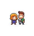 pixel art family vector image vector image