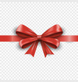 realistic red silk gift bow with ribbon isolated vector image