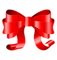 red ribbon bow 3d silky decoration vector image vector image