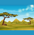 scene with field and hills vector image vector image