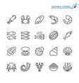 seafood line icons editable stroke vector image