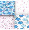 seamless pattern with cartoon sleeping clouds vector image vector image