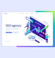 seo agency isometric landing page digital content vector image vector image