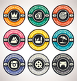 set achievement badges flat labels coll vector image