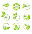 set green leaves bio symbol design elements vector image vector image