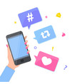 social media concept hand with smartphone modern vector image