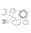 sun moon comet stars and clouds in vintage vector image vector image