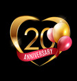 template gold logo 20 years anniversary with vector image vector image