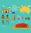 traveling in australia with map and landmark icons vector image vector image