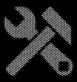 white halftone hammer and wrench icon vector image