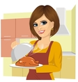 woman cooking traditional thanksgiving turkey vector image