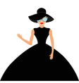 Woman in black elegant hat and big dress vector image vector image