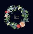 wreath made of trendy beautiful blooming floristic vector image vector image