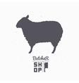 Sheep silhouette Lamb meat Butcher shop logo vector image