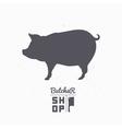 Pig silhouette Pork meat Butcher shop logo vector image