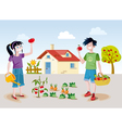Kids and orchard vector image