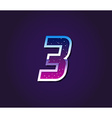 80s Style Retro Sci-Fi Font Digit or Number vector image vector image