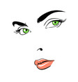 a woman s face green-eyed thoughtful vector image