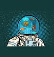 astronaut with helmet aquarium with fish vector image vector image