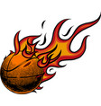 basketball on fire on white vector image vector image