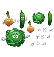 Cabbage cucumber and onion vegetables vector image vector image